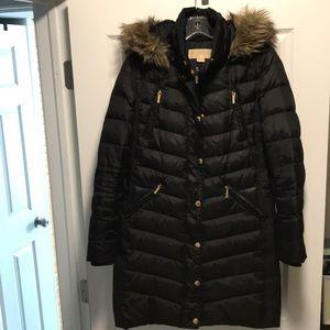 Michael Kors Faux-Fur Trim Hooded Down Jacket